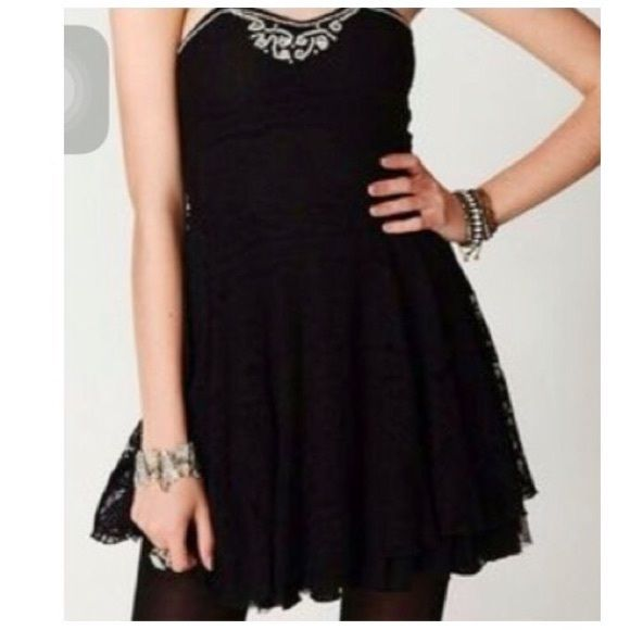 2a869bd05d8 Free People || Black Strapless Beaded Dress Brand new black lace ...