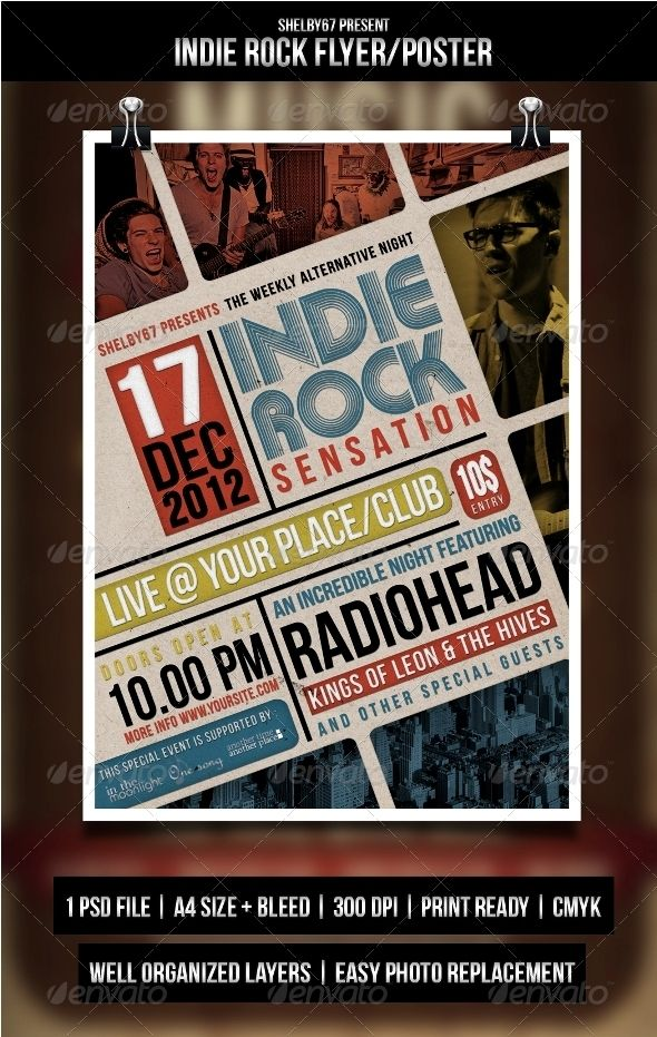 Indie Rock Flyer Poster Party Poster Typography And Flyer Template
