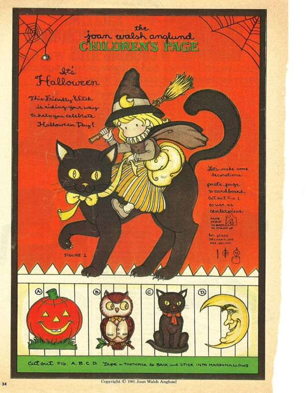 Joan Walsh Anglund Halloween Childrens Page 1981 #kids #halloween #project