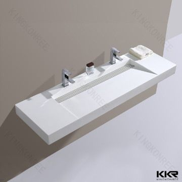 Nice Italian Resin Stone Solid Surface Long Narrow Bathroom Sink