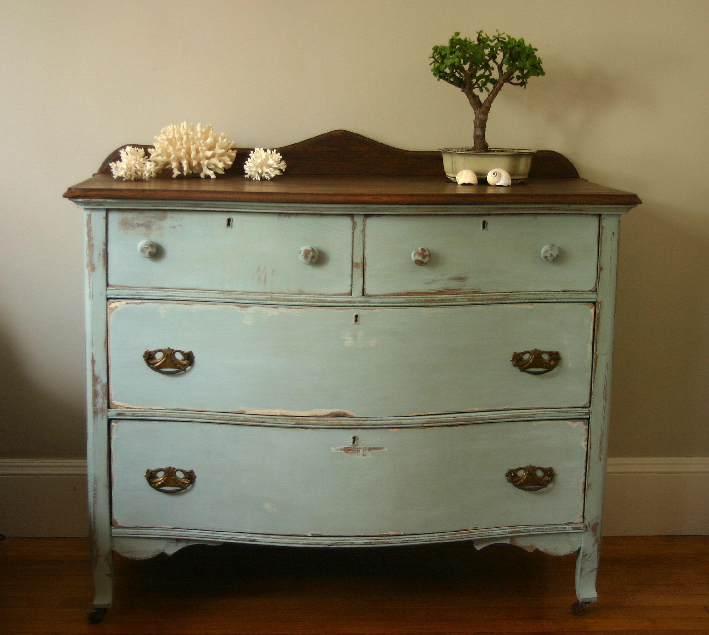 Dresser update with Annie Sloan Aubusson Blue + Old White Chalk Paint  Cribstone Cottage