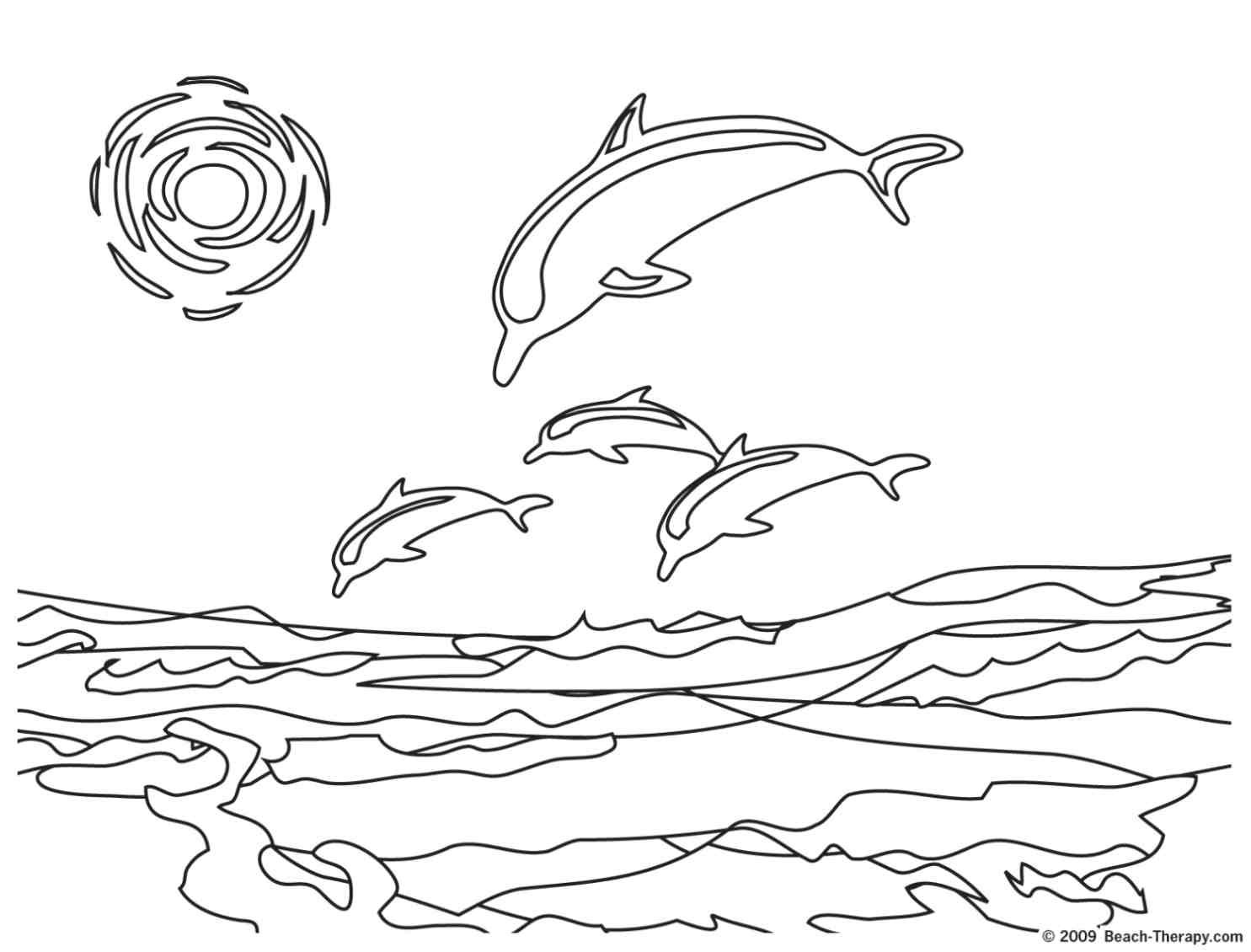 Beach Coloring Pages Dolphin Picture To Color For Kidsmy Son Loves Dolphins