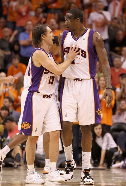 Amare Stoudemire Photos Photos - Steve Nash  13 and Amar e Stoudemire  1 of the  Phoenix Suns talk during Game One of the Western Conference Semifinals of  ... 00c39e622