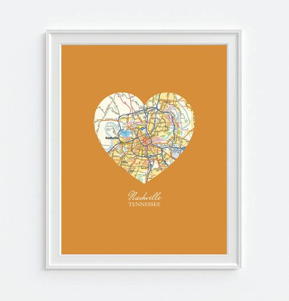 Nashville Vintage Map ART PRINT Nashville by droppedpinshop on Etsy, Love Tennessee
