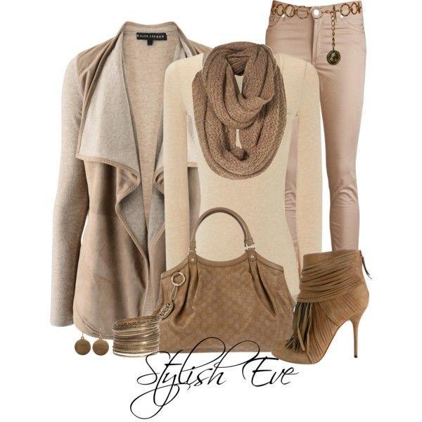 Ralph Lauren Beige Melange Leather Cashmere Cardigan  I love monochromatic dressing