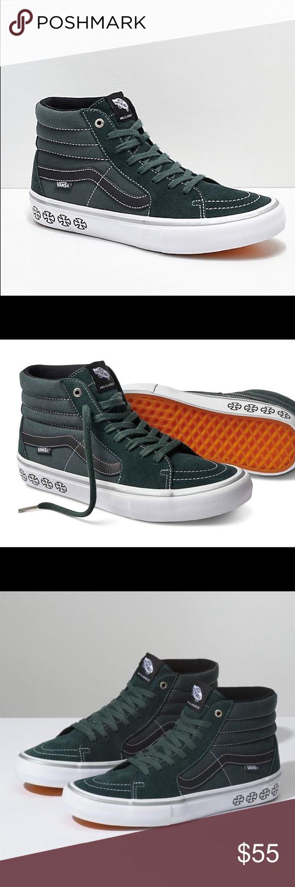 ab8d77dc52 Vans x Independent Sk8 Hi Pro Men s Skate Shoes Color  Spruce Green Men s  size