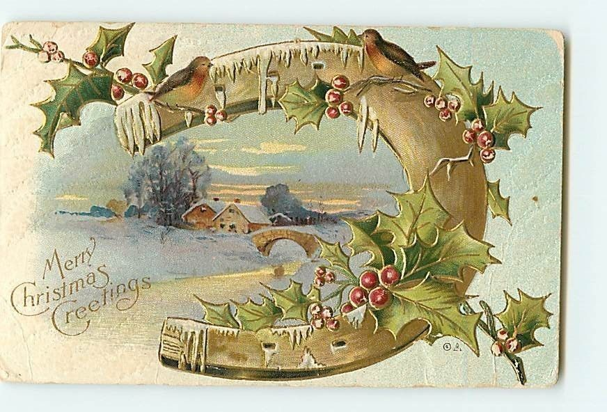 12000 Christmas Greeting Horseshoe Holly Ivy Cottage Snow Bridge Gold c1917 Embo | eBay