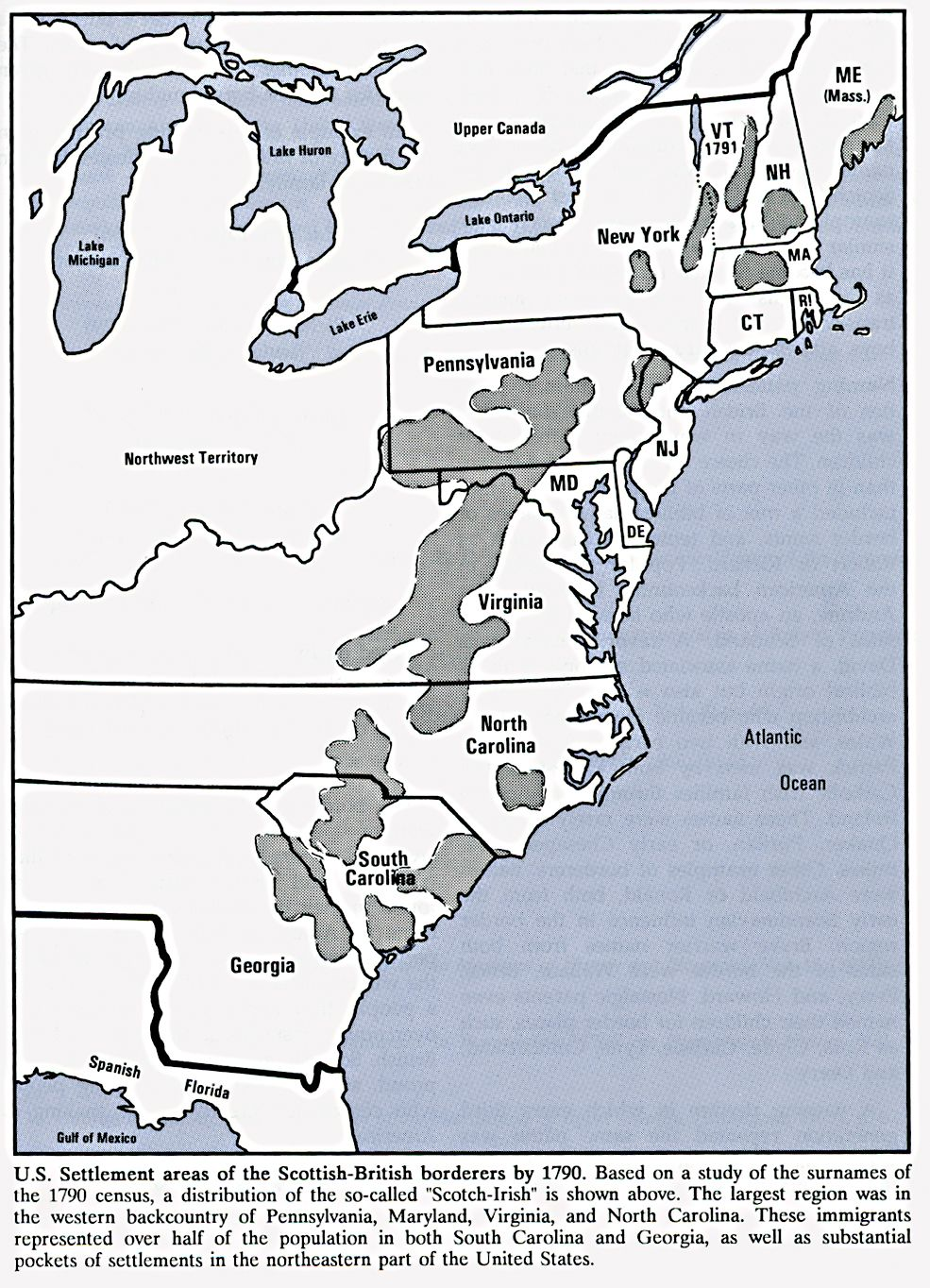 Scottish British Settlements In The Us 1790 Ad Ancient Maps In - Map-of-us-in-1790