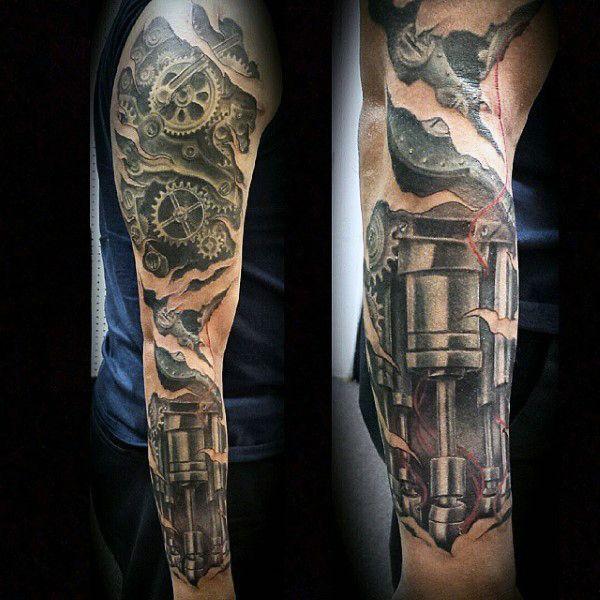 Top 47 Mechanical Tattoo Ideas 2020 Inspiration Guide Biomechanical Tattoo Gear Tattoo Mechanic Tattoo