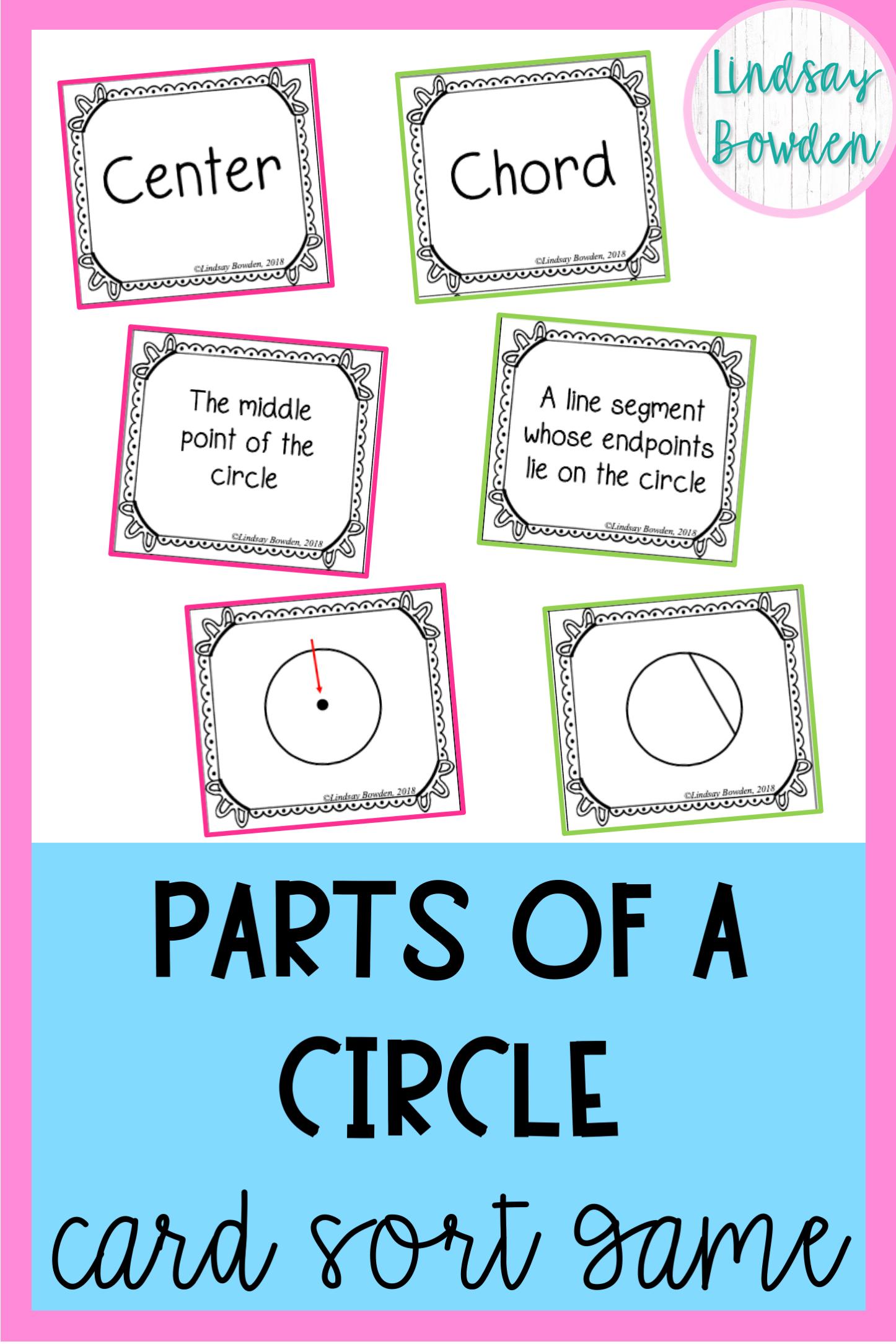 Parts Of A Circle Activity