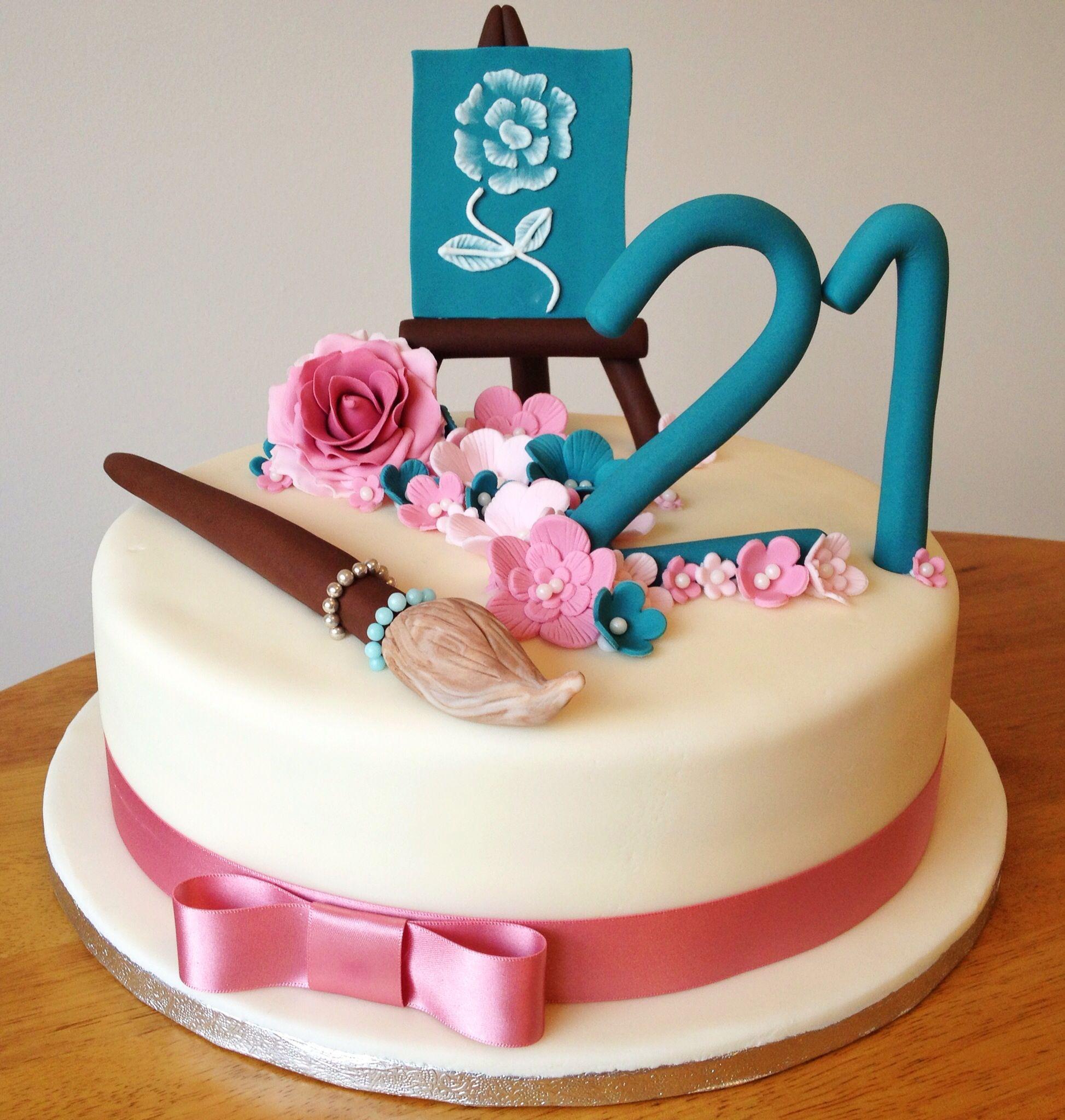 Artist, paintbrush, easel cake by Fondant Fancy Big ...