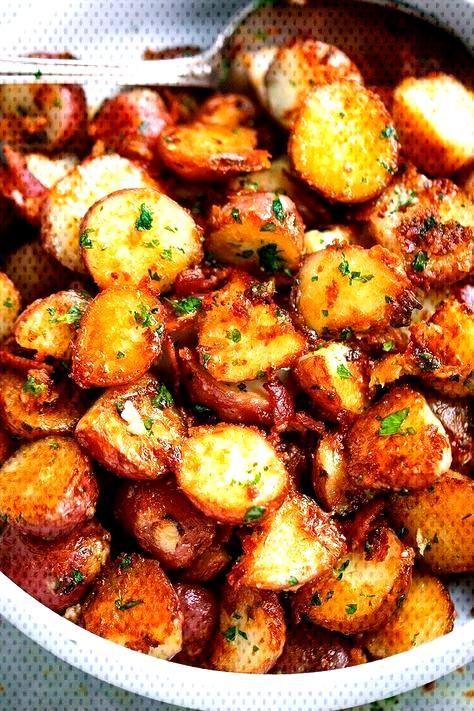 Roasted Garlic Butter Parmesan Potatoes#butter