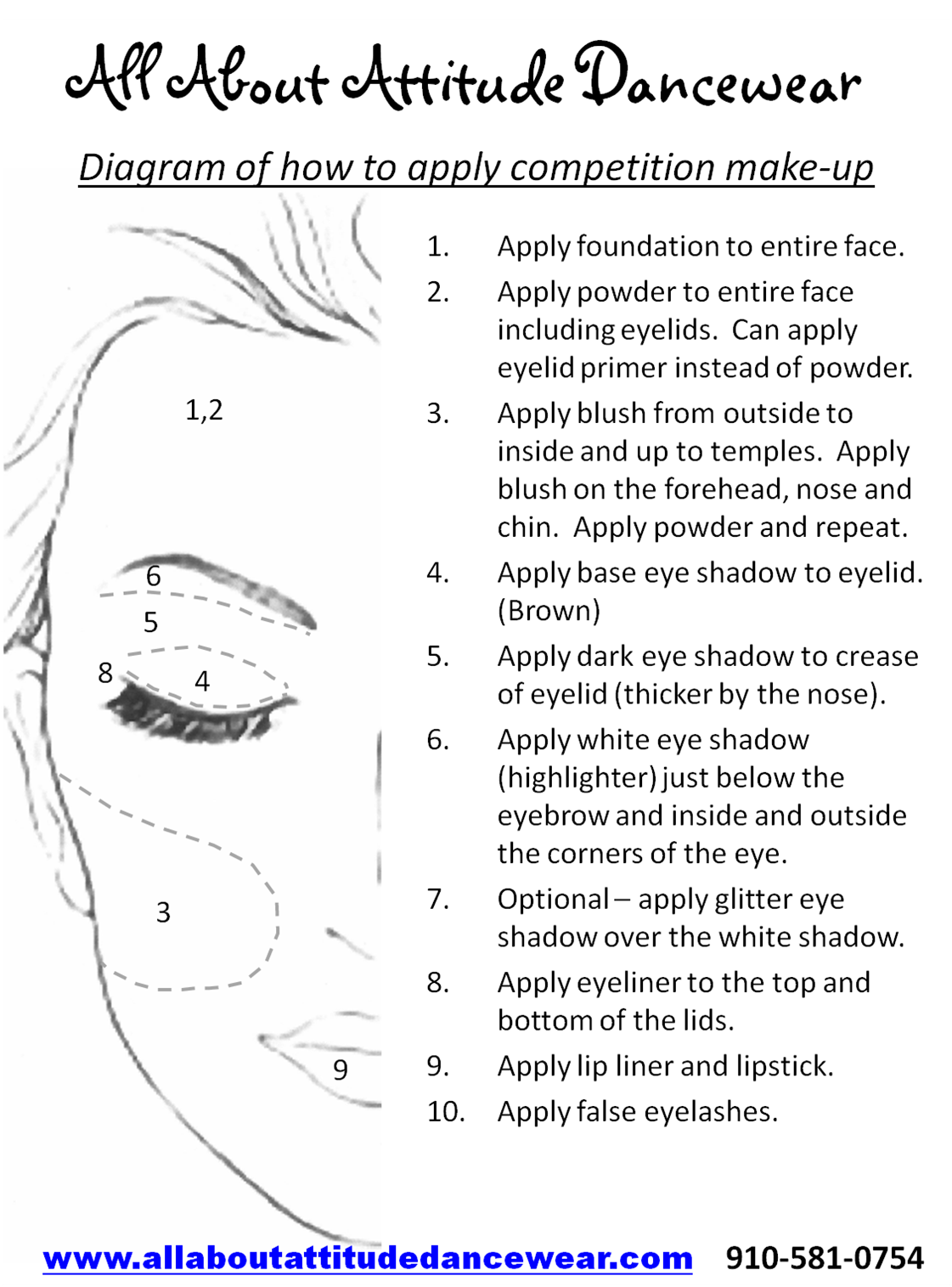 easy how to guide for applying makeup for any dance competition or recital event www allaboutattitudedancewear com [ 1121 x 1515 Pixel ]