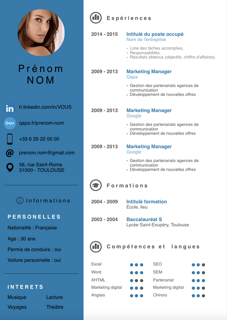 Exemple Cv Moderne Bleu Marine Png 742 1045 Free Resume Template Word Infographic Resume Template Cv Words