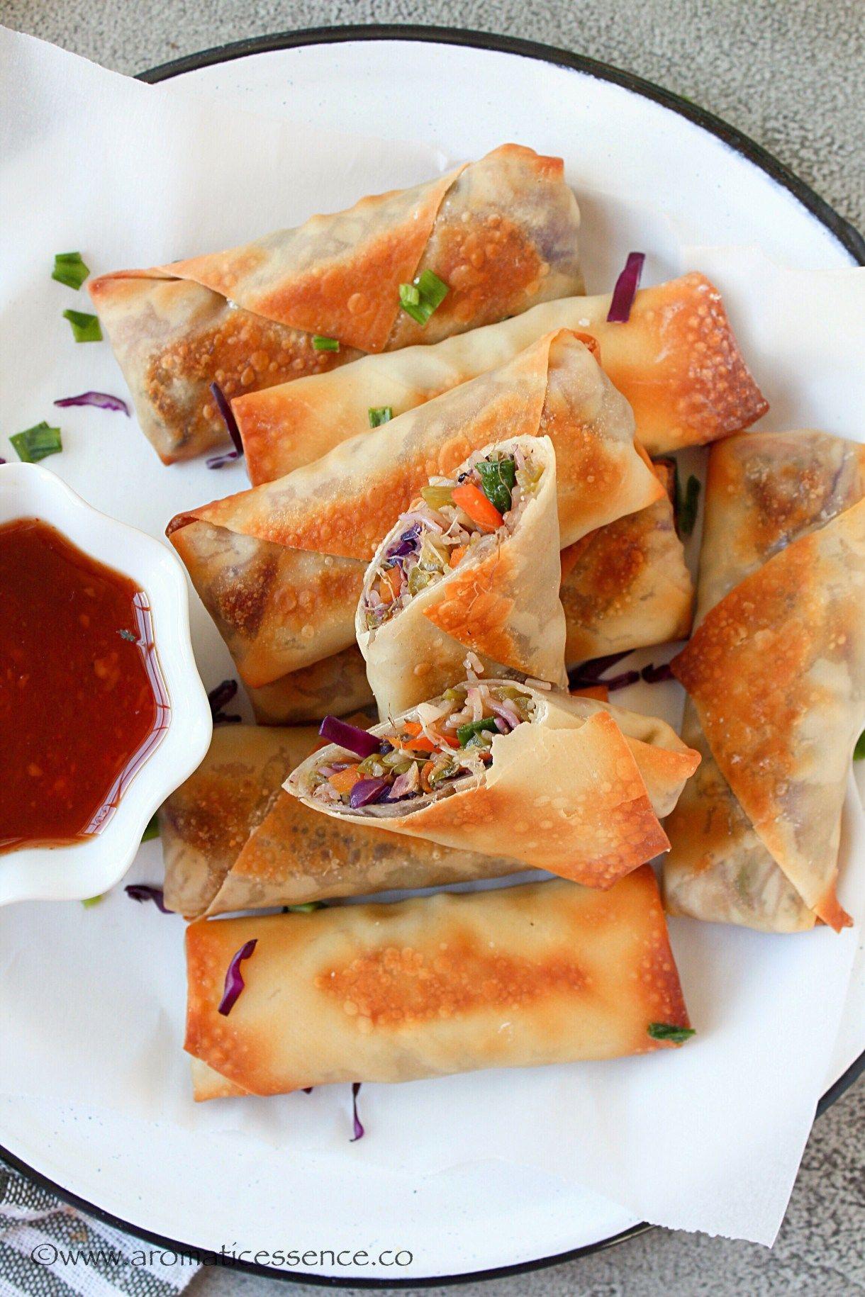 Veggie Spring Rolls Recipe (Baked) | Chinese Vegetable Spring Roll Recipe |  Recipe | Veggie spring rolls, Vegetable spring rolls, Spring roll recipe