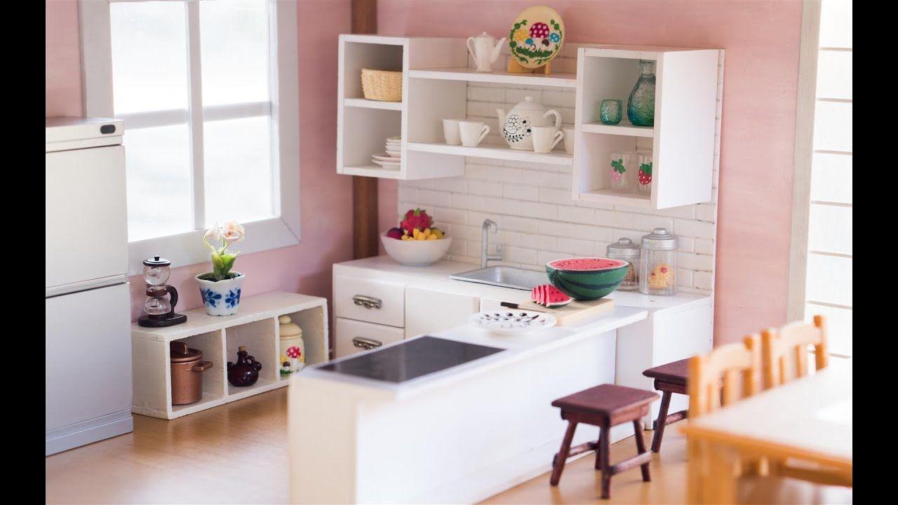 Diy Dollhouse Miniature Kitchen For Nendoroid Dolls Action Figures Youtube Miniature Kitchen Dollhouse Miniatures Diy Diy Kitchen