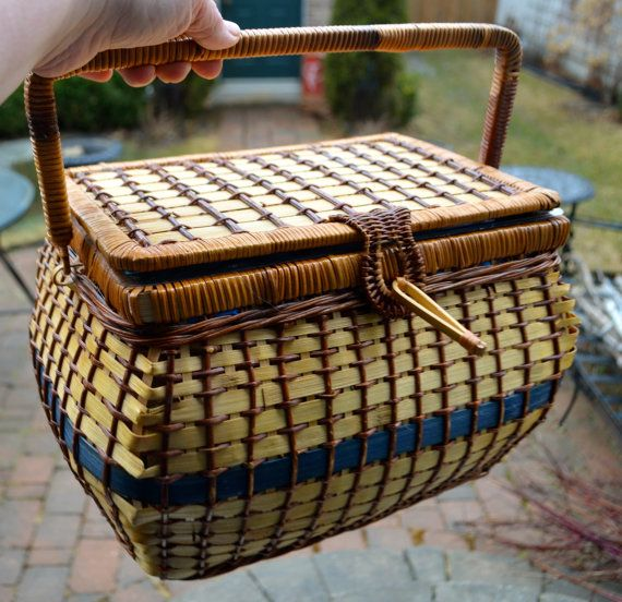 LARGE SEWING BASKET Vintage Sewing Basket Royal Blue and Straw