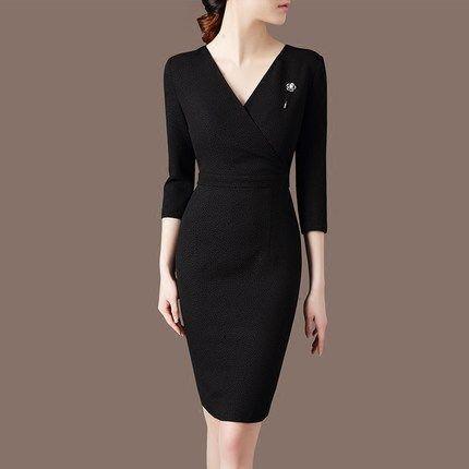 2016秋装新款简约显瘦百搭打底裙中长款修身V领七分袖气质连衣裙