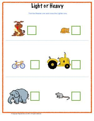 Worksheet | Light or Heavy | Children will compare weights of the ...
