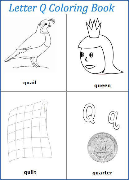 Letter Q Words Coloring Pages