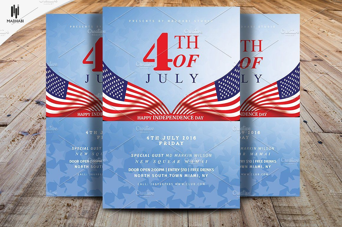 4th of july flyer template photoshop customization document adobe