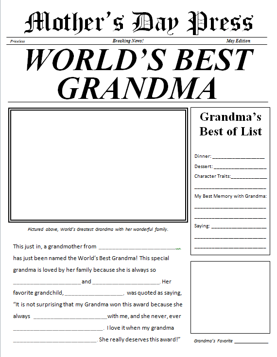 Mothers Day Newspaper for Grandma free printable  For the