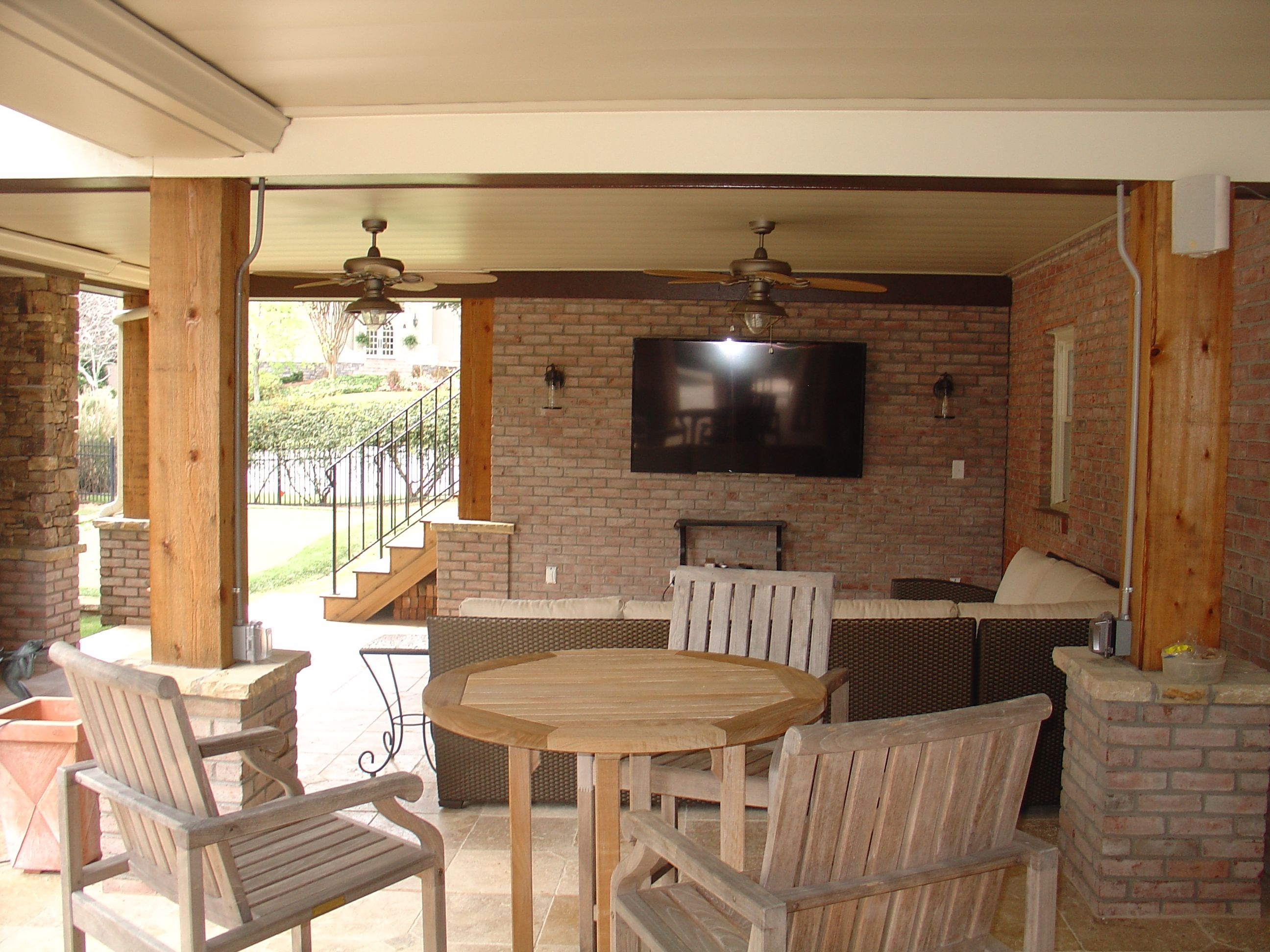 Decks Under Cover Is A Weather Tight Ceiling Material Attached Under A Raised Deck To Catch Rainwate Patio Seating Area Patio Stones Kitchen Bathroom Remodel