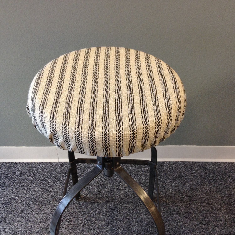 French Ticking Elasticized Round Barstool Cover Kitchen Stool Etsy Bar Stools Indoor Bench Cushions Round Bar Stools
