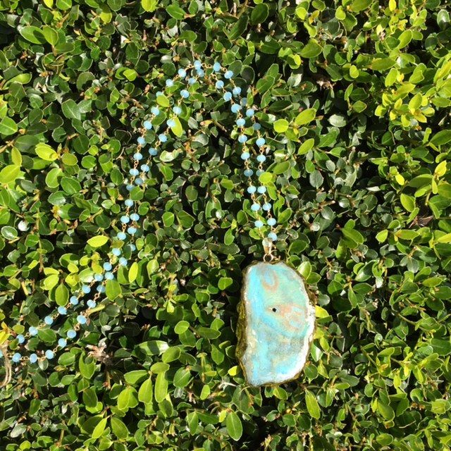 Turquoise & Gold Stone Beaded Necklace by Hensley Grace Designs.
