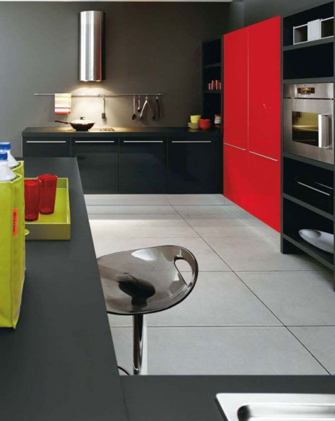 Love The Red And Black Contrast Gloss Acrylics On This Kitchen