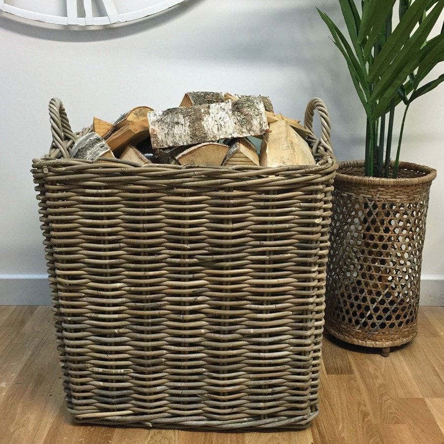 Extra Large Square Wicker Log Basket with Handles | Logs, Squares ...