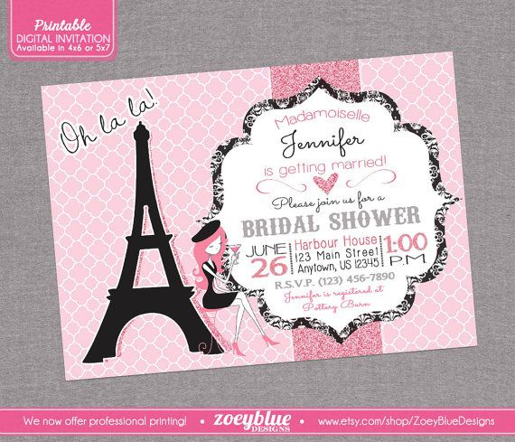 Paris Bridal Shower Invitation Parisian Party by ZoeyBlueDesigns