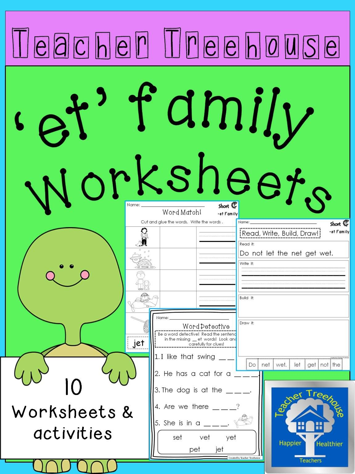 Et Word Family Worksheets