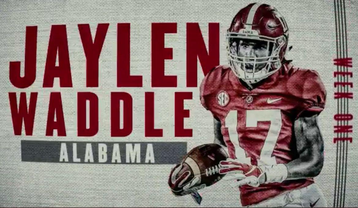Jaylen Waddle Freshman Of The Week For Week 1 Alabama 51 Louisville 14 Alabama Rolltide Bama Builtbybama Alabama Crimson Tide Alabama Alabama Football