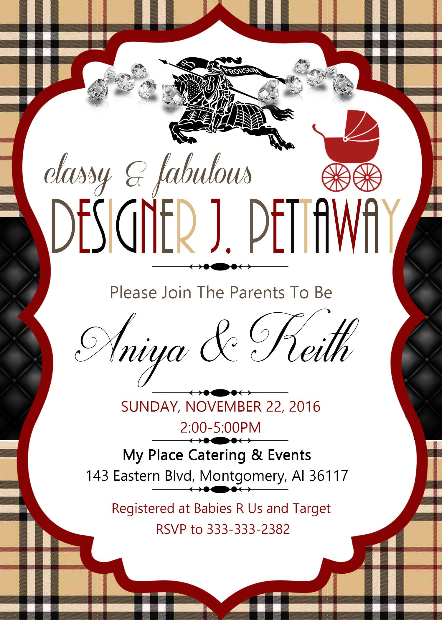 Burberry theme baby shower invitation , Burberry baby shower ...