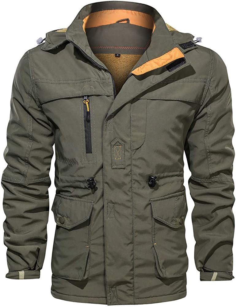 Men's Winter Windproof Military Jacket Hooded Fleeced