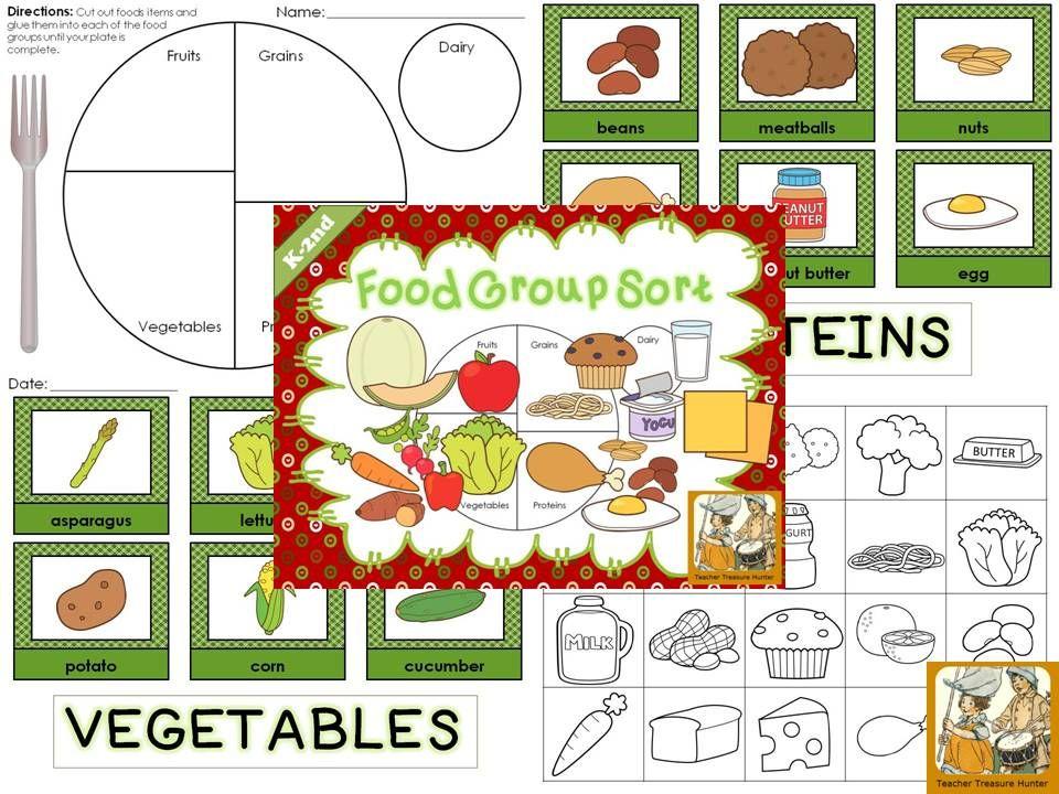 Food Group Sort MY PLATE Health cards & worksheets