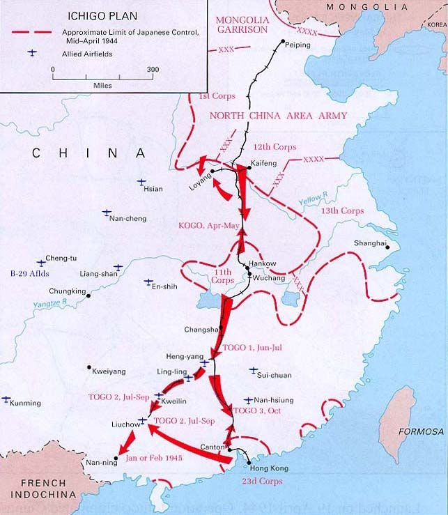 Launched on 19 april 1944 operation ichigo eliminated chinese ichigo plan china the limit of japanese control 1944 gumiabroncs Choice Image