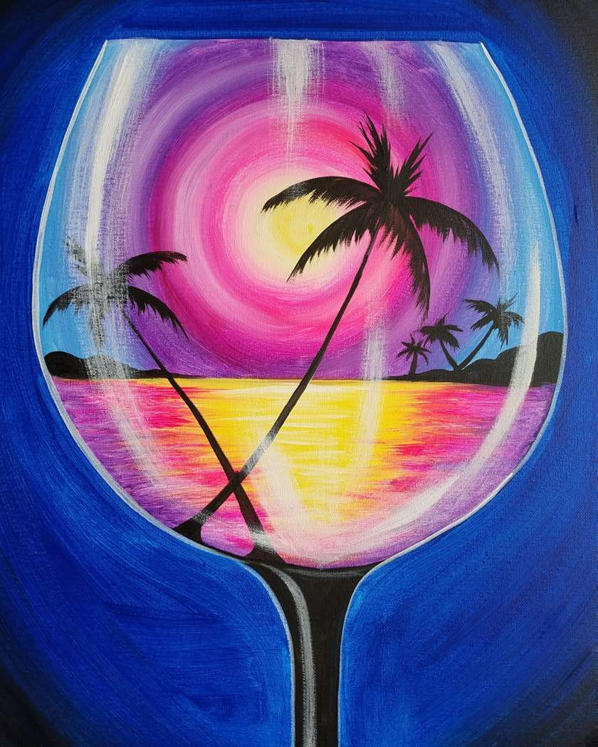 Easy Sip And Paint Pictures : paint, pictures, Sipping, Sunset, Canvas, Painting,, Painting