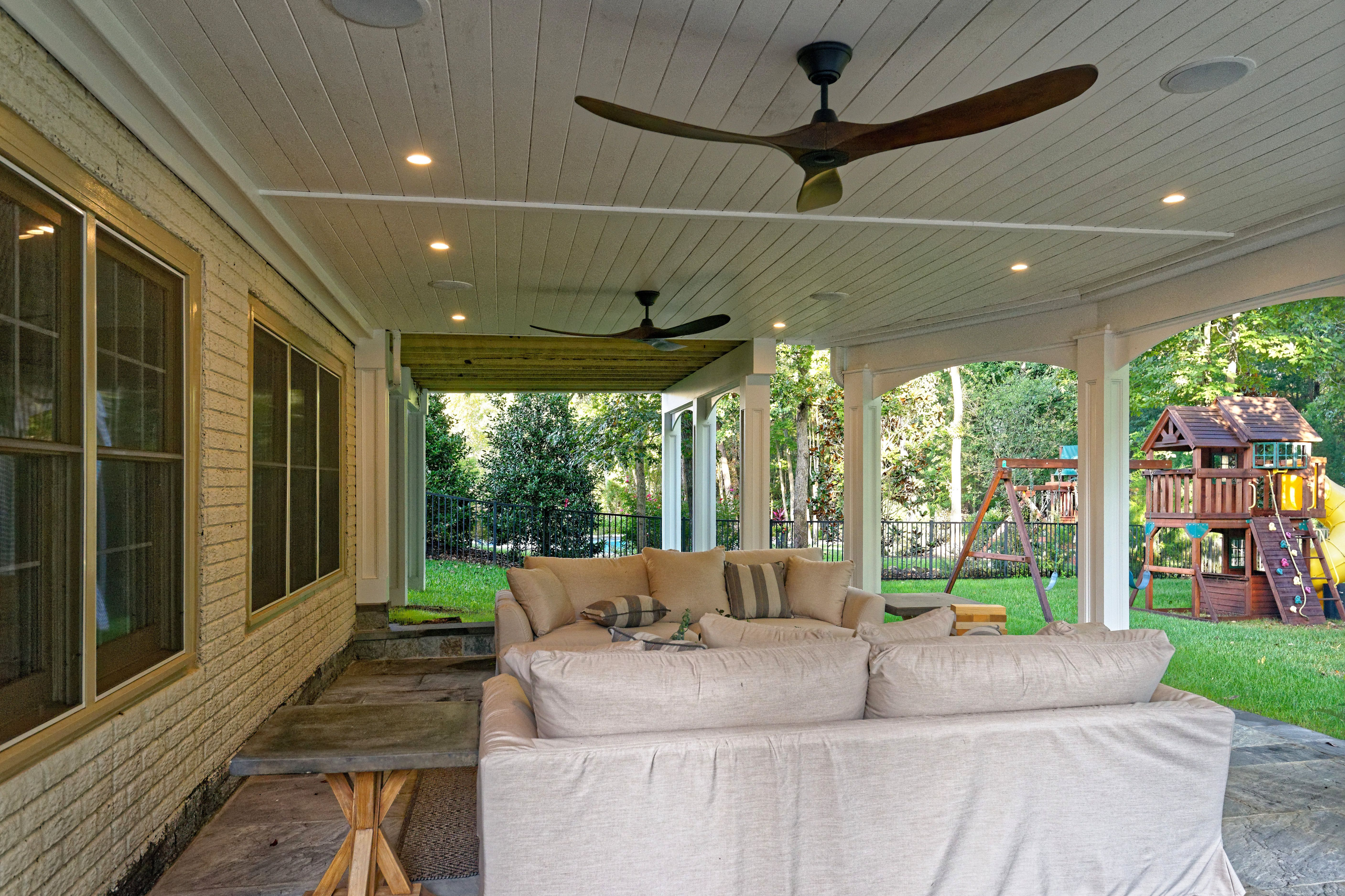 This Patio Has A Dry Space Under The Deck Which Allows These Homeowners To Enjoy Every Square Foot Of Their Diy Patio Patio Lighting Outdoor Recessed Lighting
