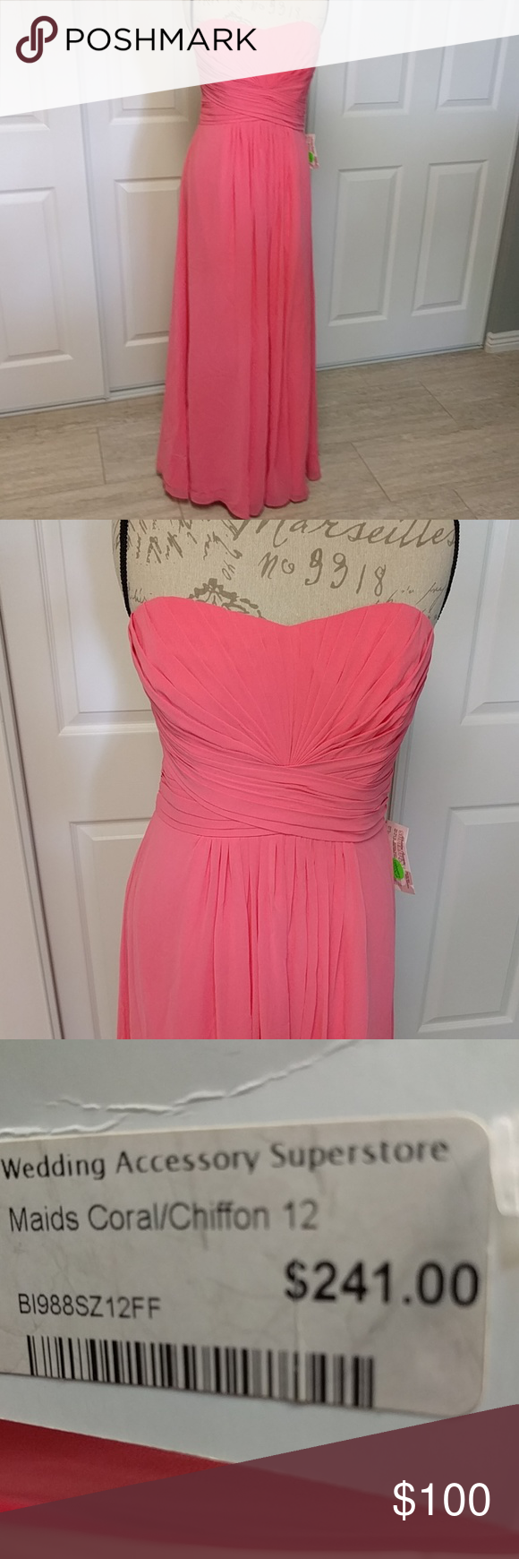 Stunning coral chiffon formal gown NWT