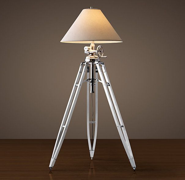 ROYAL MARINE TRIPOD FLOOR LAMP POLISHED ALUMINUMRestoration - Restoration hardware floor lamps
