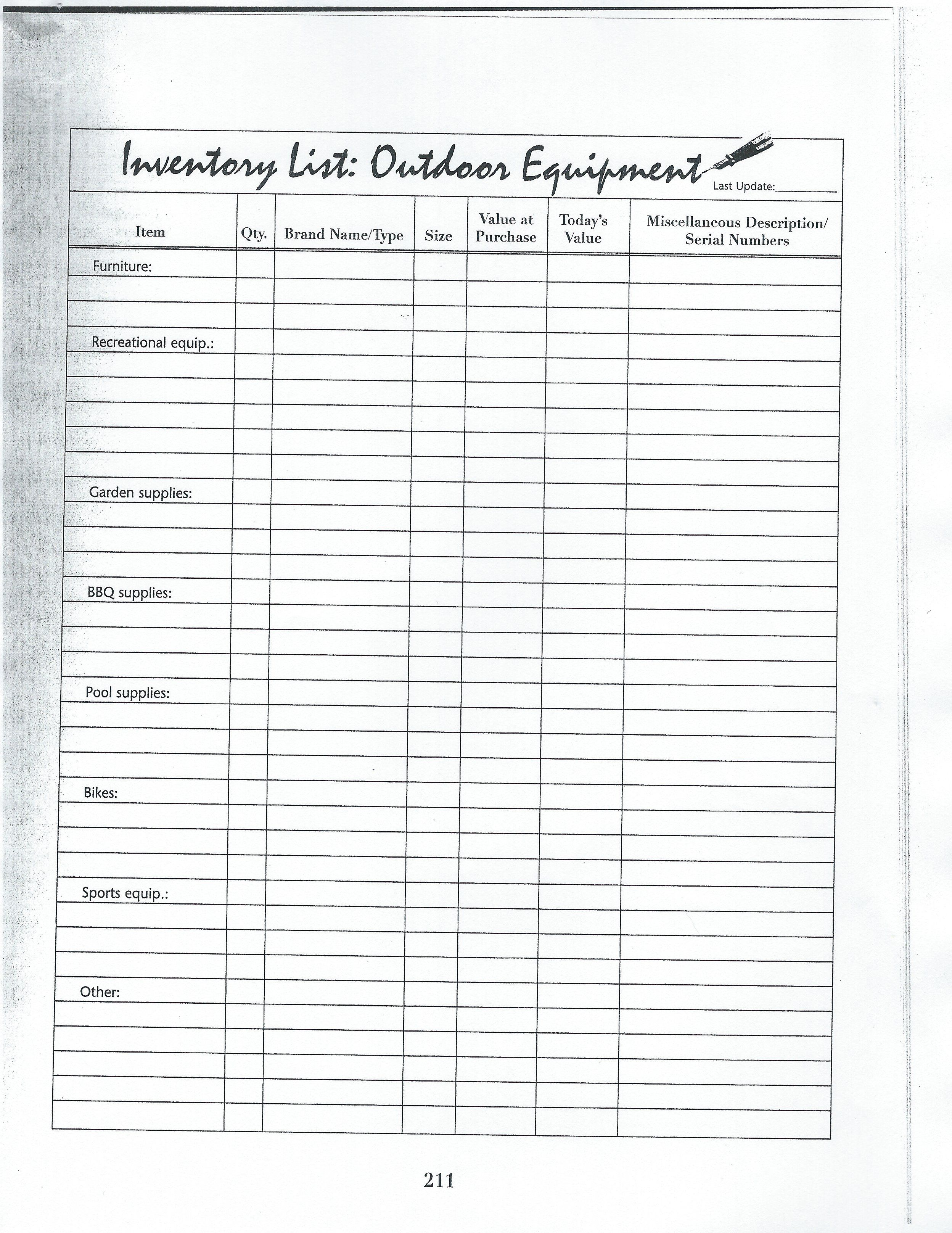 inventory list outdoor equipment
