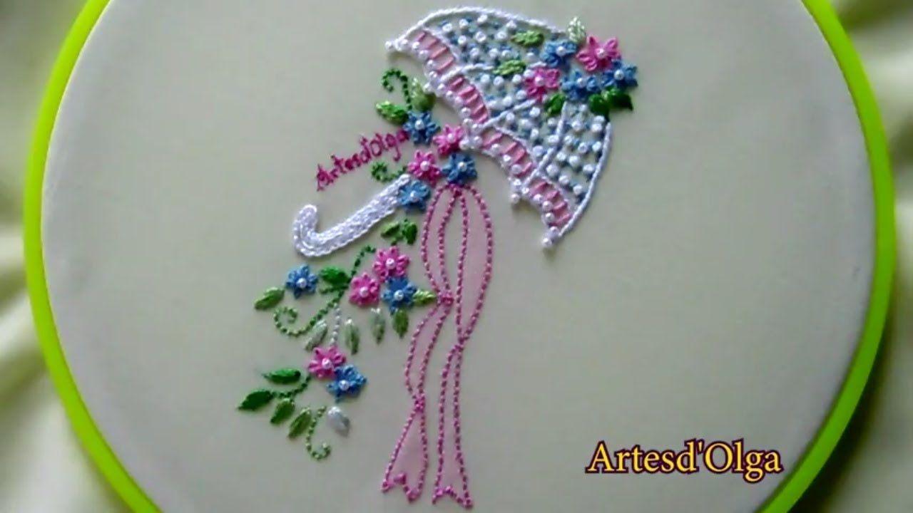 Hand Embroidery Umbrella Flower Bouquet Bordados A Mano Sombrilla Con Bouquet De Flores