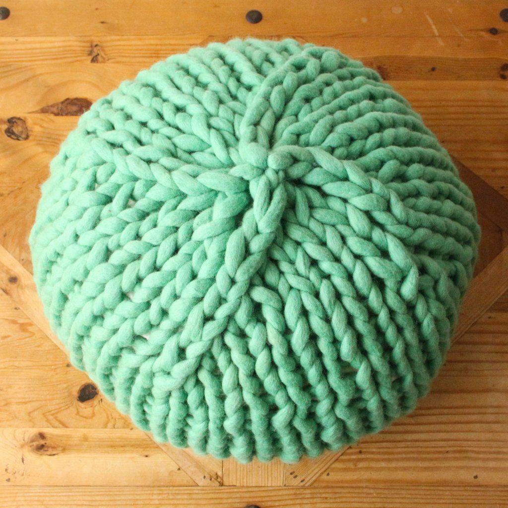 Grace pouf knitted ottoman yarn basket knitted pouf