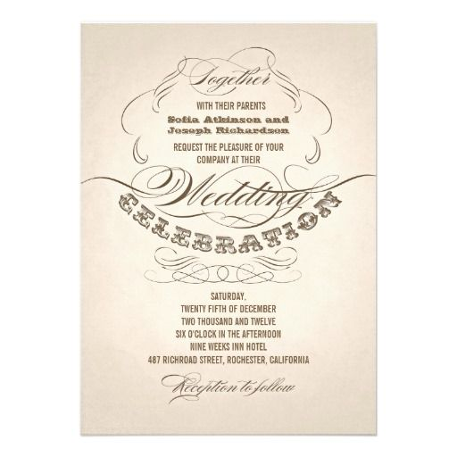 wedding invitations with vintage typography design. I suggest a Linen paper for this design. If you need more additional products (like rsvp, reception, letterheads, wedding stickers etc), please contact me. If you like my style, please go to my store and see a lot of unique designs.