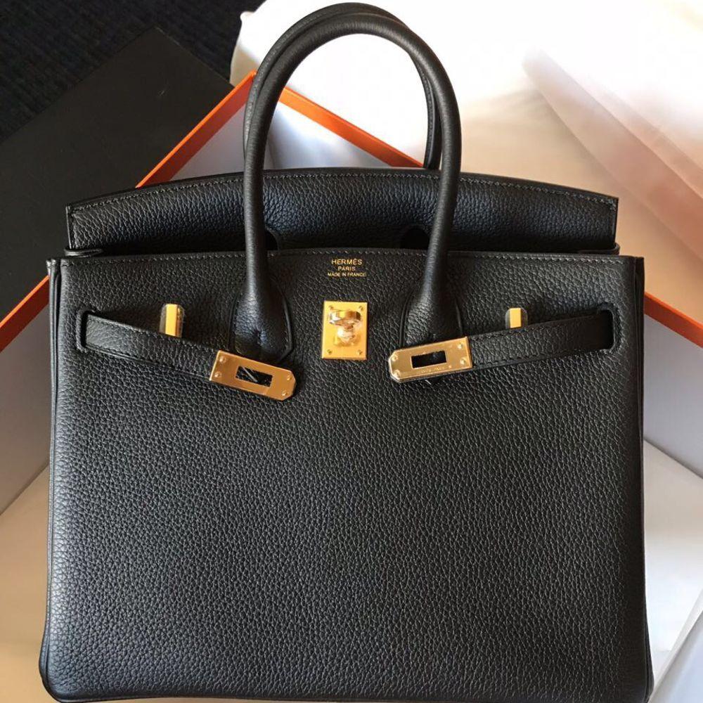 4fce6de41e Hermès Birkin 25 Noir (Black) Togo Gold Hardware GHW A Stamp 2017   thefrenchhunter