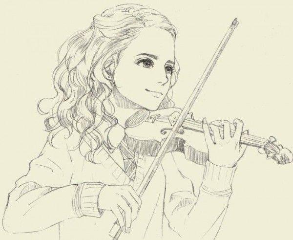 Harrypotter dessin hermione au violon de skm musique - Trop beau dessin ...