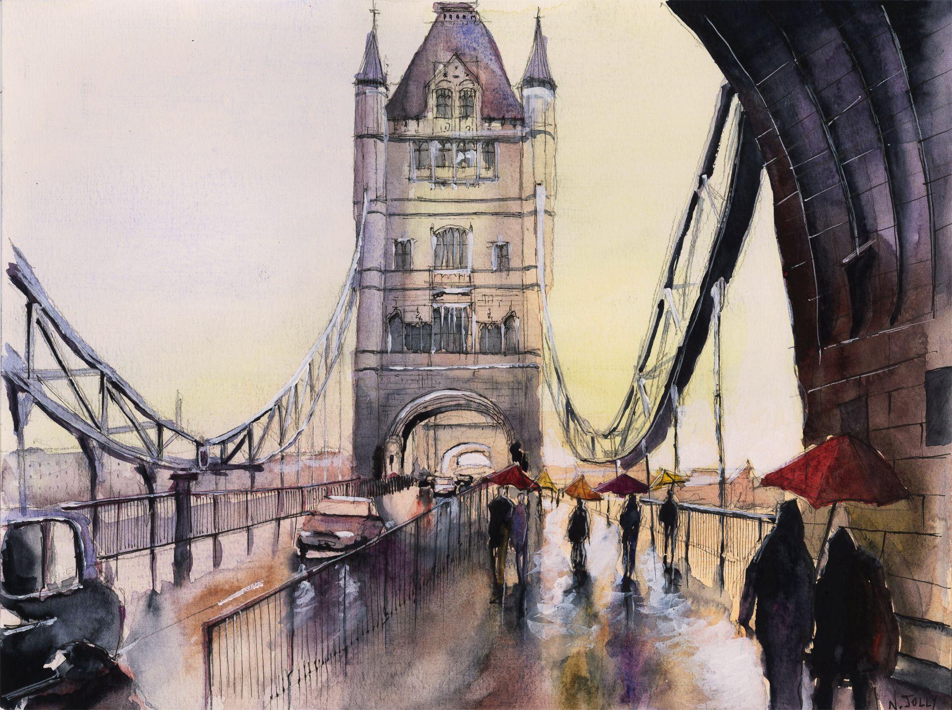 Watercolor Aquarelle Tower Bridge London London Art Print