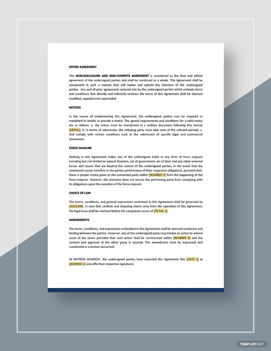 Non Disclosure And Non Compete Agreement Template Free Pdf Google Docs Word Template Net Disclosure Competing Agreement Non compete agreement template free
